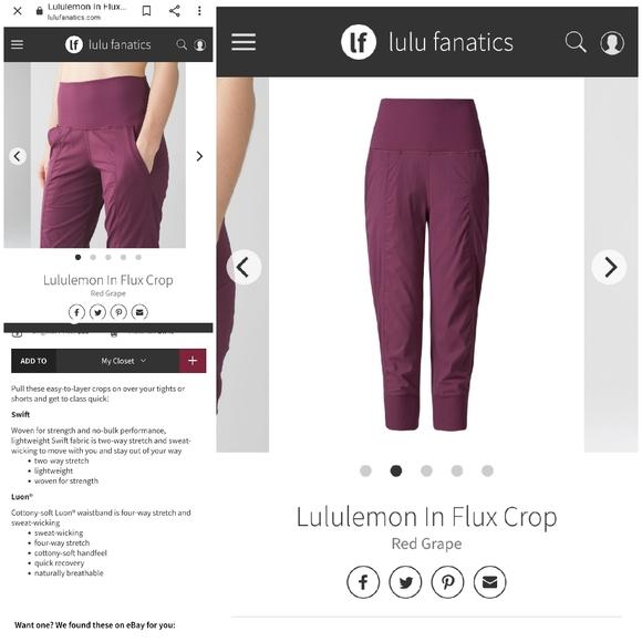 Lululemon in flux crops size 8